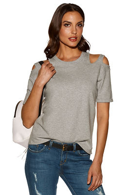 Cutout short-sleeve sweatshirt