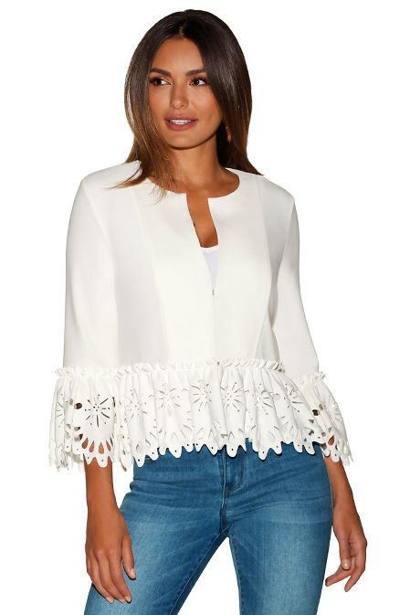 Beyond travel™ laser cut peplum jacket image