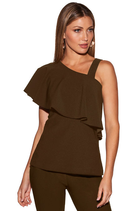 Beyond travel™ ruffle one strap top image