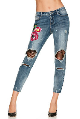 Bright sequin flower jean