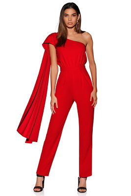 Display product reviews for Cape one-shoulder jumpsuit