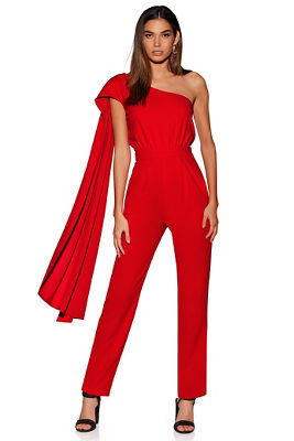Cape one-shoulder jumpsuit