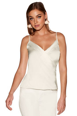 Charmeuse surplice tank top