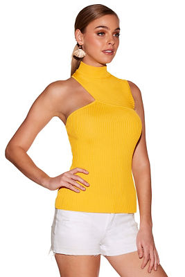 Display product reviews for Cutout mock-neck sleeveless sweater