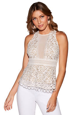 deep v illusion sleeveless top