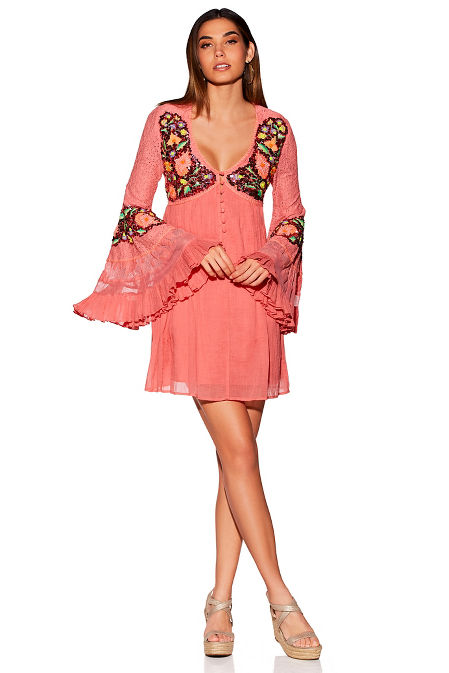 Embellished v neck long-sleeve dress image