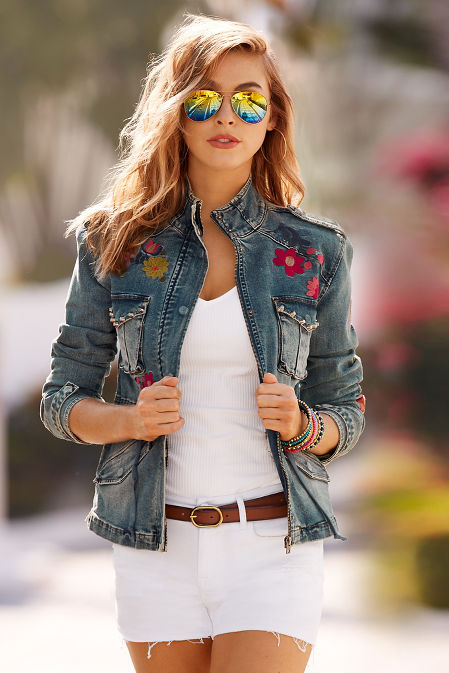 Embroidered twill denim jacket image