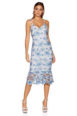 floral lace midi tank dress