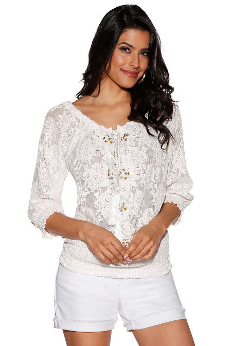 Floral lace peasant top image