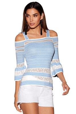 mesh inset cold-shoulder sweater