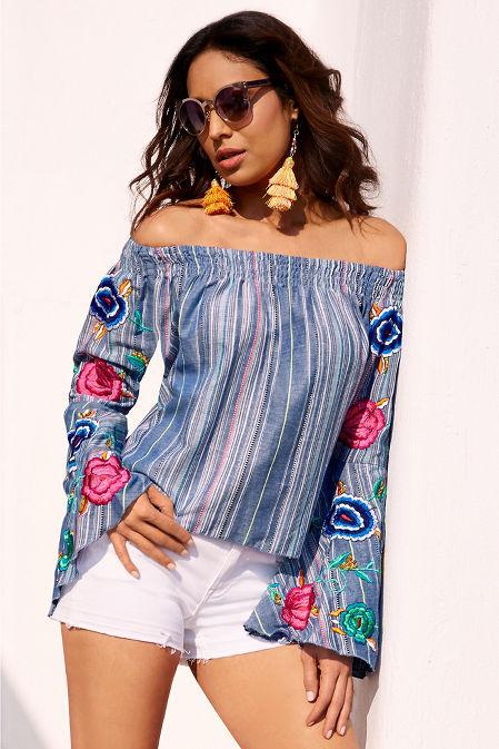 Multistripe embroidered off-the-shoulder top image