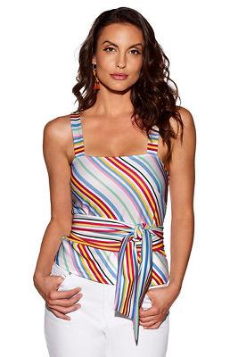 Multicolored stripe sash top