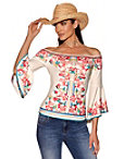 Off-the-shoulder Floral Flare-sleeve Top Photo
