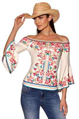 Off-the-shoulder floral flare-sleeve top