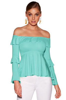off-the-shoulder ruffle knit top