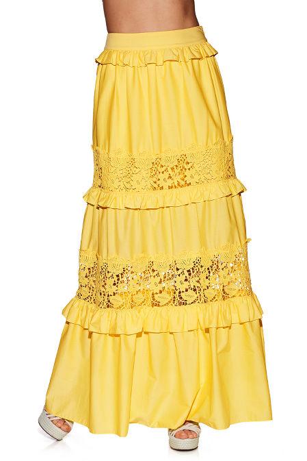 Poplin lace maxi skirt image
