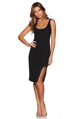 rounded slit dress