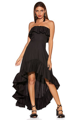Display product reviews for Ruffle hi-lo poplin dress