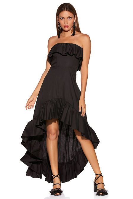 Ruffle hi-lo poplin dress image