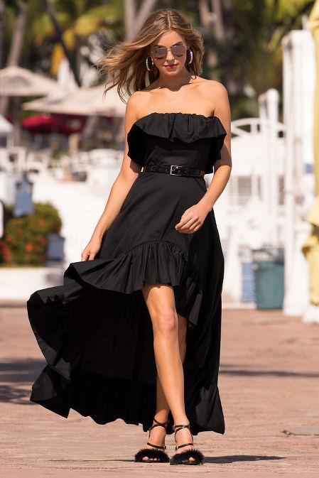 Ruffle hi-lo poplin dress image