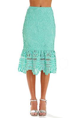 scalloped lace midi skirt