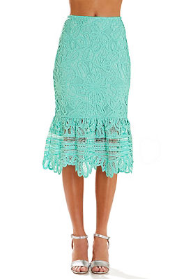 Scalloped lace midi skirt
