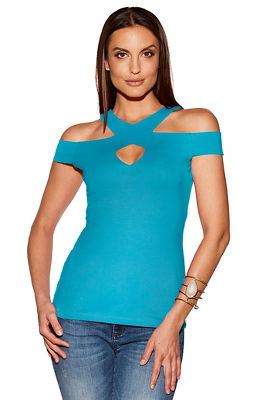 So Sexy™ cold shoulder cutout keyhole top
