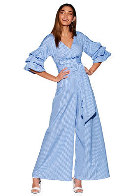 Display product reviews for Stripe ruffle sleeve jumpsuit