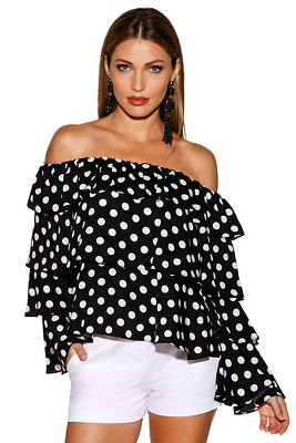 tiered sleeve off-the-shoulder polka dot top