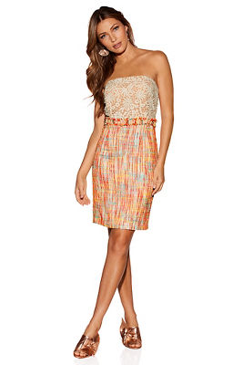 Tweed and lace strapless dress