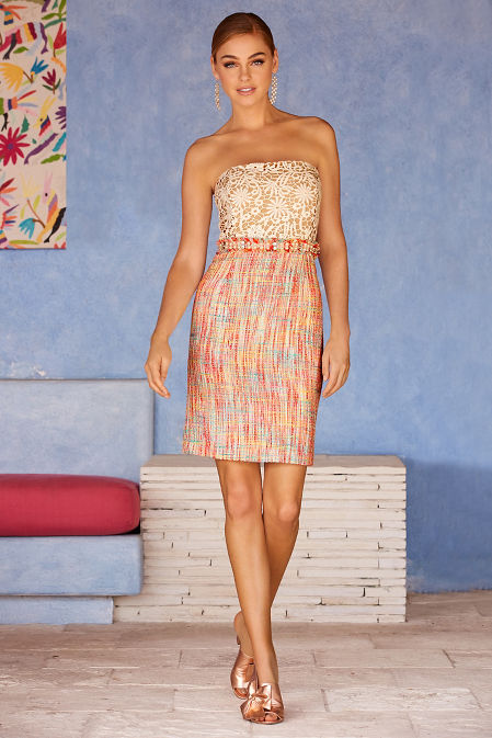 Tweed and lace strapless dress image