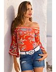 Off-the-shoulder Printed Ribbed Flare Sleeve Top Photo
