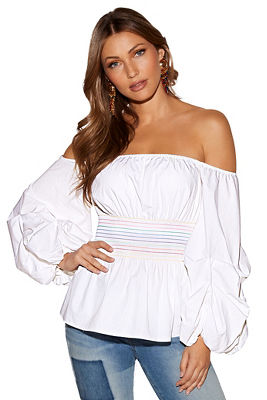 colorful smocked poplin off-the-shoulder top