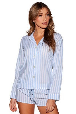 Striped button front PJ top