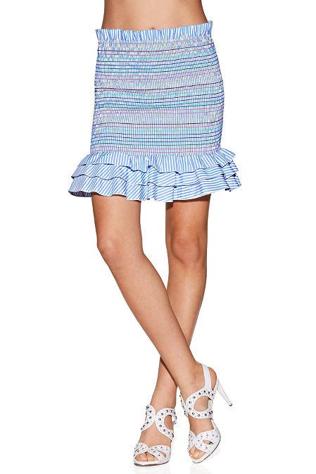 2 in 1 smocked poplin skirt image