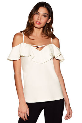 Beyond travel™ ruffle lace-up top