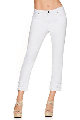 Fringe bottom capri jean