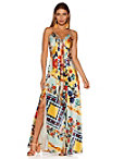 Printed Tie Maxi Dress Photo