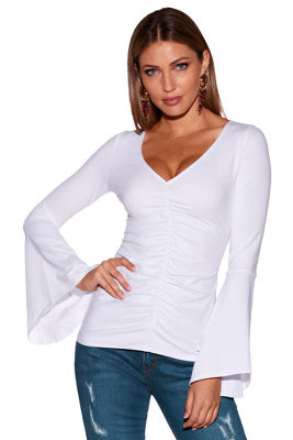 So Sexy™ ruched flare-sleeve top