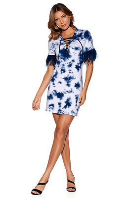 TIE DYE FEATHER SLV DRESS