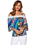 Blooming Swirl Cold-shoulder Top Photo