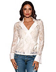 Collared Lace Wrap Top Photo