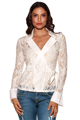 Collared lace wrap top