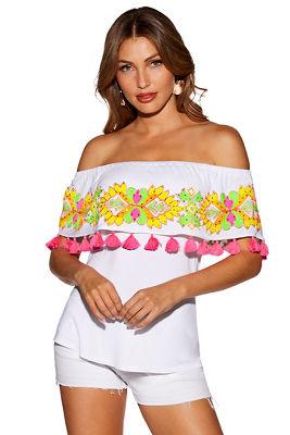 Off-the-shoulder embroidered tassel top