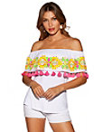 Off-the-shoulder Embroidered Tassel Top Photo