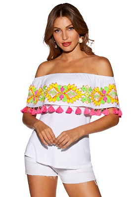 Off-the-shoulder embroidered tassel top