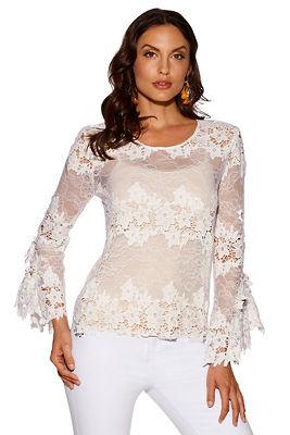 3D floral delicate lace blouse