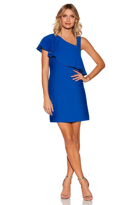 Beyond travel™ one shoulder ruffle dress image