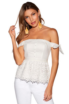 bow sleeve lace peplum top
