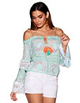 Braided Strap Embroidered Cold-shoulder Top Photo